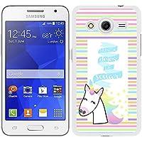"""Funda carcasa para Samsung Galaxy Core 2 diseño frase """"nunca dejes de soñar"""" unicornio colores borde blanco"""