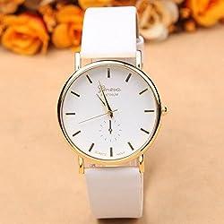 Oxforder Ladies Quartz Watch Leather Band Wristwatch (White)
