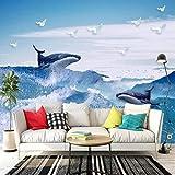 BIZHIGE Mur Mural Photo Personnalisé 3D Panneau Mural Dauphin Bleu Ciel Blanc Nuages Papier Peint Chambre À Coucher TV Fond Salon Canapé-140 × 70 Cm