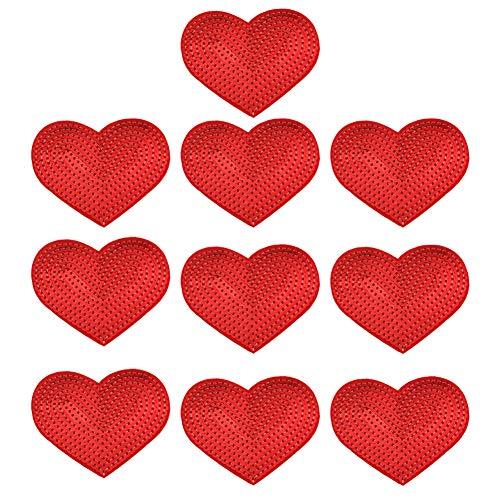 XUNHUI Parches de lentejuelas para planchar con corazón, parches de lentejuelas para ropa, pantalones, bolsas, pegatinas de costura, accesorios 10 piezas
