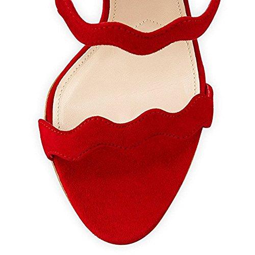 Damen Open Toe Welle Sandalen High-Heels Stiletto Fellsamt Reißverschluss Rot