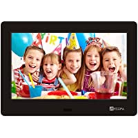 Arzopa Digital Photo Frame 7 inch IPS Screen (1024x600) High Resolution Support MP3 MP4 Pictures Video Player Clock Calendar Function Remote Control (Black 7 inch)