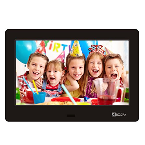ARZOPA 7-Zoll Digitaler Bilderrahmen IPS Schirm 1024x600(16:9) Hohe Auflösung Unterstützung MP3 MP4 Video Player Uhr und Kalender Funktion mit Fernbedienung (Schwarz) Camera Mp3 Mp4 Video