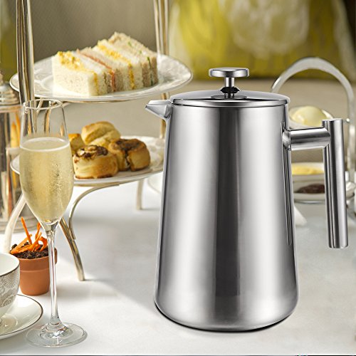 Sailnovo French Press/ Kaffee und Teebereiter /Kaffeekanne aus Edelstahl, 1.2L/Silber/Aromen &Geschmack Gnießen