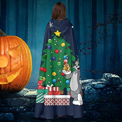 Aisfgbj - costume da strega con cappuccio, motivo: tom and jerry around the christmas tree unisex