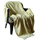 RAJRANG löst Decke Super Soft-gelb warme indische dekorative Reversible Decke für Sofa und Couch weichen 100% Baumwolle und warmes Wohnzimmer 127 cm x 152 cm