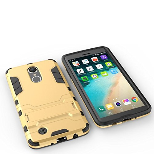YHUISEN LG LV3 Case, 2 In 1 Iron Armour Tough Style Hybrid Dual Layer Armor Defender PC + TPU Schutzhülle mit Stand Shockproof Case für LG LV3 / Aristo / MS210 / K8 2017 ( Color : Gray ) Gold