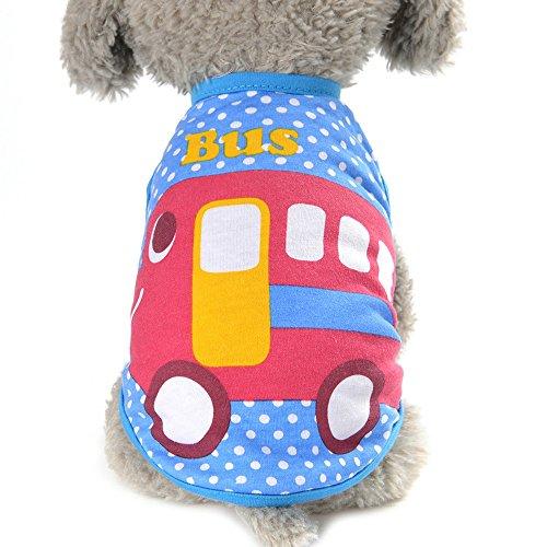 Mascotas perro Ropa,Switchali Linda Perro Verano Mascota Perrito Clásico Chaleco moda Camisa Pequeña Perro Mascota Chaleco lindo Ropa Gato Dibujos animados Vestido suave cómodo T-shirt barato (X-Small, autobús)