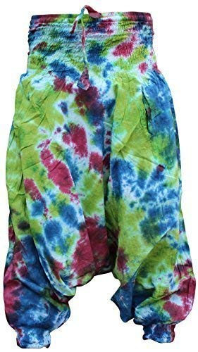 Shopoholic Fashion Damen Harem Hose Hippie Bunt Batik Baggy Locker Sitzende Hose - lila grün mix, One Size -