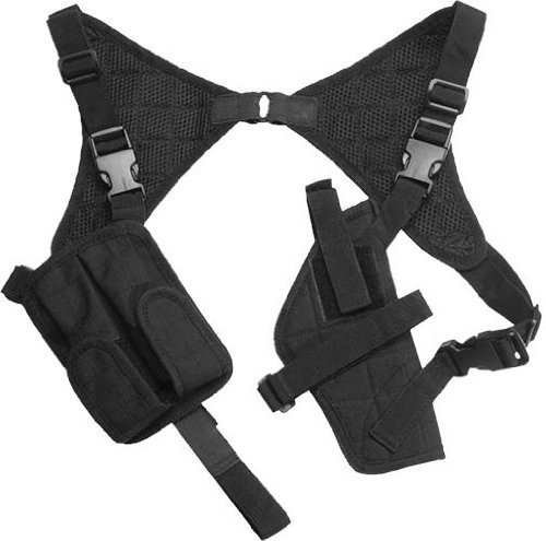 Leder Kostüm Halfter - g8ds® Pistolenholster Cordura Schulterholster schwarz verstellbar mit Magazintaschen
