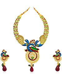 Sukkhi Delightful Gold Plated Australian Diamond Peacock Necklace Set For Women