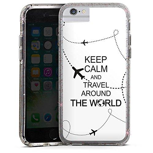 Apple iPhone X Bumper Hülle Bumper Case Glitzer Hülle Reisen Travel Keep Calm Bumper Case Glitzer rose gold