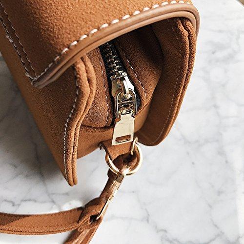 Frauen-Metall-Wölbung Clamshell Kleine Quadratische Tasche Schulter Messenger Bag Braun