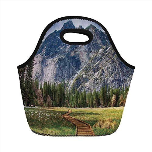 Portable Bento Lunch Bag,Yosemite,North Dome as Seen from The Valley with Wooden Walkway Yosemite National Park,Green Charcoal,for Kids Adult Thermal Insulated Tote Bags -