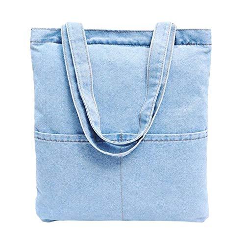 Canvas Denim Tote (Damen EIN-Schulter Retro Jeans Handtasche Canvas Denim Tote Bag)