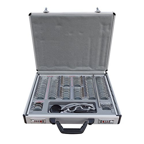 ECO-WORTHY 158 pcs Optical Trial Lens Set Metal Rim Aluminium Case + Free Trial Frame