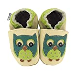 HOBEA-Germany Krabbelschuhe in verschiedenen Farben und Designs mit Tieren, Schuhgröße:24/25 (24-30 Monate), Modell Schuhe:Eule grün