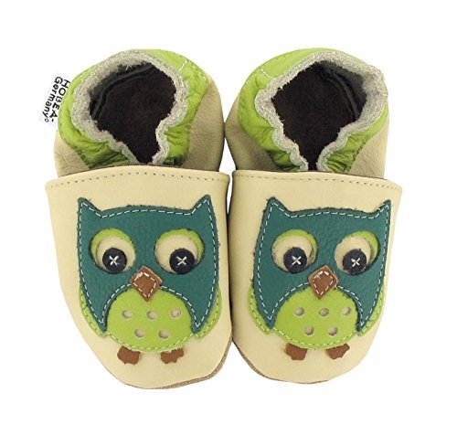Krabbelschuhe Babyschuhe mit Tieren von HOBEA-Germany, Schuhgröße:24/25 (24-30 Monate), Modell Schuhe:Eule grün