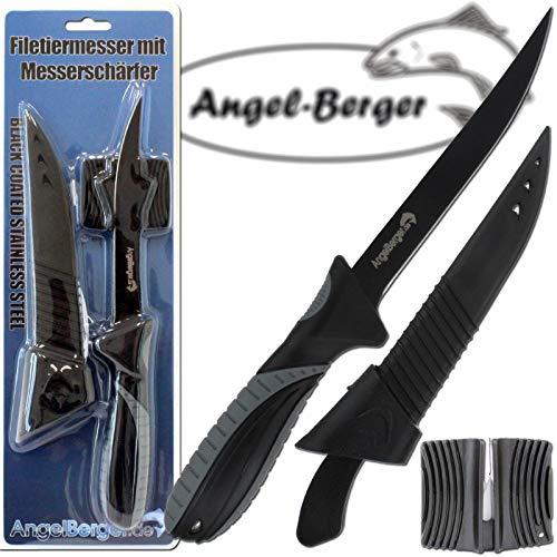 Angel-Berger Filetiermesser mit Messerschärfer Angelmesser Filet Knife Fischmesser beschichtet