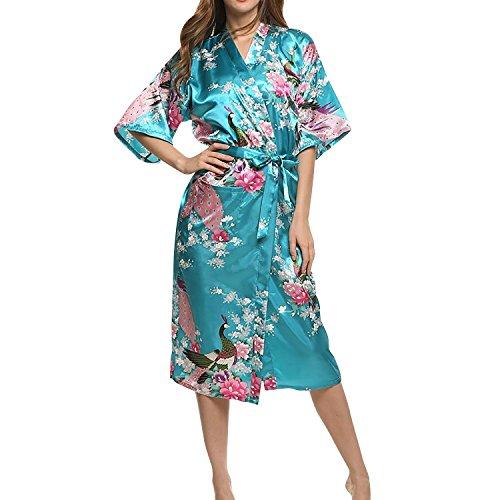 Dolamen Damen Morgenmantel Kimono, glatte Satin Nachtwäsche Bademantel Robe mit Peacock und Blume Kimono Negligee Seidenrobe locker Schlafanzug, Langer Stil LakeBlue