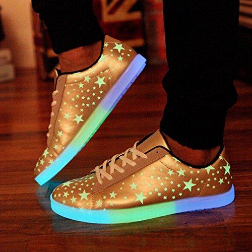 Sanwood Hommes Femmes Etoile Chaussure Fluorescent Lumineux Light Up Doré