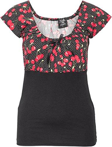 Küstenluder Damen Oberteil Dixie Kirschen Punkte Shirt Schwarz 2XL (Gesmokt Kirschen)