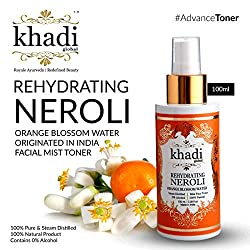 Khadi Global Rehydrating NEROLI Orange Blossom Water Originated in INDIA Facial MIST Toner 100ml / 3.38 Fl.Oz | 100% Pure & Steam Distilled, Contains 0% Alcohol | For All Skin Type | 100% Natural Product