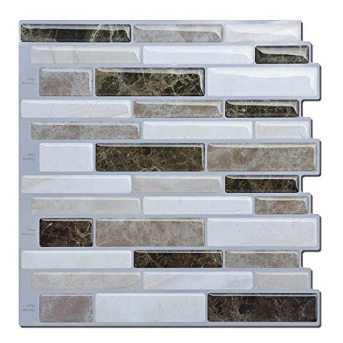 "Kitchen/Bathroom Tiles Stickers (3D Tile) Waterproof, Self Adhesive Mosaic Wall Tile, Premium Anti Mold Peel and Stick Tiles Backsplash 10.5"" x 10.5"" (Pack of 4 Sheets)"