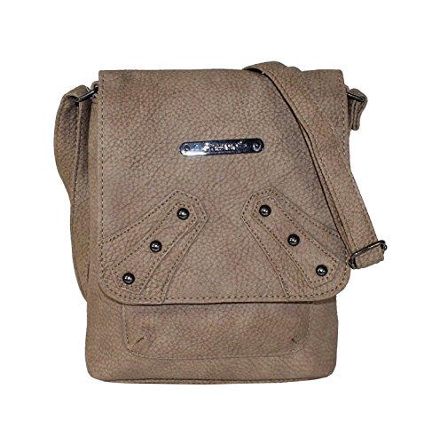 Unbekannt Damen Kleine Überschlagtasche mit Nieten Schultertasche, 24 x 5.5 x 18 cm Beige (Taupe)