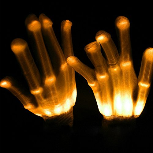 Licht LED Skelett-Handschuhe bis Rave Handschuhe Glow in the Dark LED Handschuhe Halloween-Kostüm Neuheit Weihnachten Geschenk, Kinder, - Dark Halloween-kostüme Glow