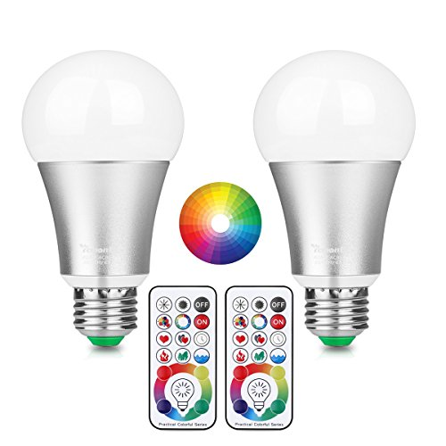LemonBest 10W E27RGBW LED cambia de color bombilla con mando a distancia por infrarrojos 17teclas, 100millones de múltiples colores iluminación regulable lámpara, CA 85–265V, pack de 2x