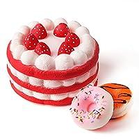 Kuuqa Jumbo Strawberry Cake Squishy Slow Rising squishies juguetes con 2 piezas Mini Donuts Squishies Kawaii Squishies niños juguete Fiesta de cumpleaños favores (color al azar) de KUUQA