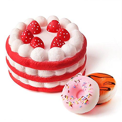 kuuqa-jumbo-squishy-erdbeerkuchen-und-mini-squishy-donuts-slow-rising-soft-squishies-charms-spielzeu