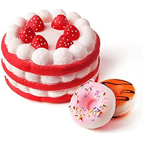 juguetes kawaii Kuuqa Jumbo Strawberry Cake Squishy Slow Rising squishies juguetes con 2 piezas Mini Donuts Squishies Kawaii Squishies niños juguete Fiesta de cumpleaños favores (color al azar)
