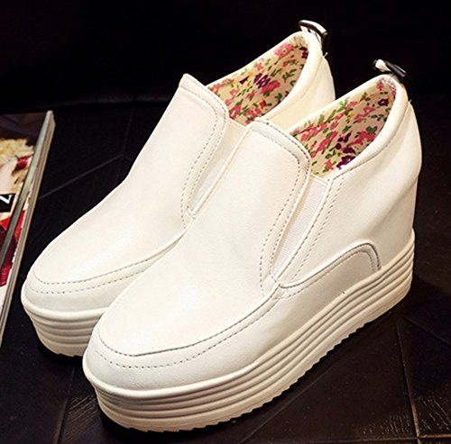 Aisun Femme Mode Plateforme Bout Rond Sneakers Blanc