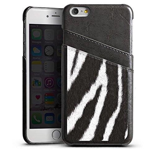 Apple iPhone 6 Housse Étui Silicone Coque Protection Zèbre Fourrure Monochrome Étui en cuir gris