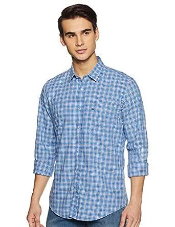 Peter England Men's Checkered Slim fit Casual Shirt (PCSFCSLPP55754_LightBlue_40)
