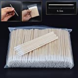 300pcs/pack Short Wood Handle Small Pointed Tip Head Cotton Swab Eyebrow Tattoo Beauty Makeup Color Nail Seam Dedicated Dirty Picking Pack of 2, HJ-NA096
