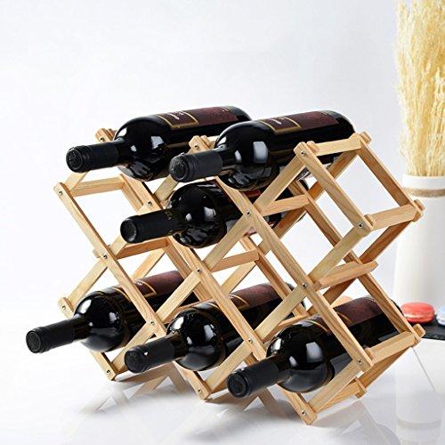 QIANGZI Faltbares Hölzernes Flaschenregal des Wein-Gestell-10 Freies Stehendes Regal-natürliches...