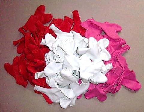Sachsen Versand Ballons en forme de cœurs Rose/rouge/blanc