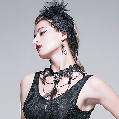 Black Lace Choker (Chlyuan Halskette für Frauen Exquisite Frauen Spitze Halskette Punk Hochzeit Party Black Lace Choker Perlen Kette Boutique Pullover Anhänger)