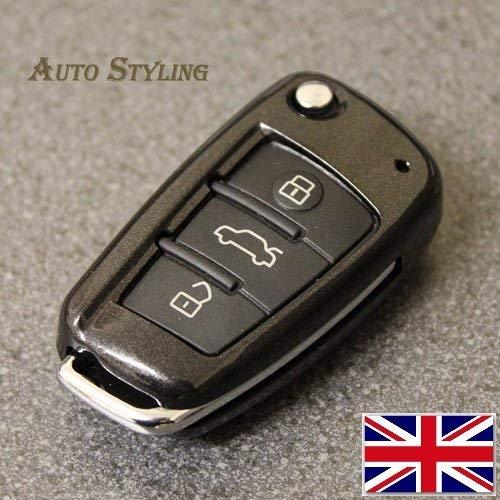 Lucido diamante nero Audi 3 Button Key cover A1 S1 A3 S3 RS3 A4 S4 RS4 A6 S6 RS6 Q3 Q5 Q7 TT TTs R8 Flip Case telecomando Protector S Line TDI TFSI FSI Black Edition quattro Style Special Turbo Coupe