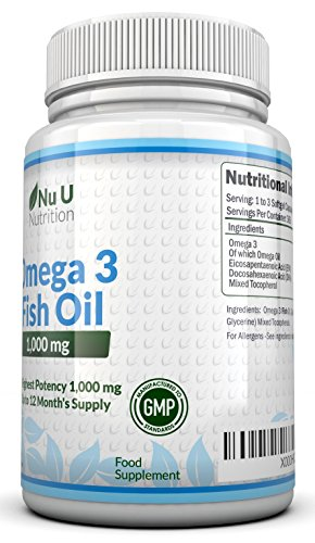 Omega 3 Fish Oil 1000mg 365 Softgels by Nu U Nutrition (1 Year Supply)