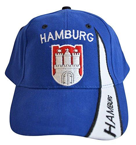 Flaggenfritze Kappe Motiv Deutschland Hamburg blau Fahne, fan - Cap mit Hamburger Fahne