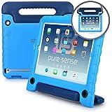 Apple iPad 2/3/4 Funda para niños, PURE SENSE BUDDY Fuerte Anti Bacterias Libre de Gérmenes Tirante de Hombro Resistente A Prueba de Niños Protector de Juguetes Funda Portátil + el Mango, Estante, Protector de Pantalla (Azul)