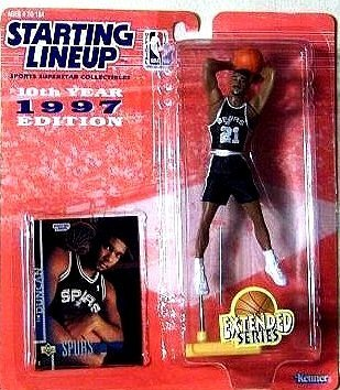 Tim Duncan Basketball-spur (Tim Duncan Action Figure, in San Antonio Spurs Uniform - 1997 Starting Lineup 10th Year Edition Extended Series NBA Basketball by Kenner/Hasbro, Inc.)