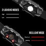 LE Stirnlampe, LED Kopflampe, Kopfleuchte mit Rotlicht, Flashlight, spritzwassergeschütztes Gehäuse IPX4, kaltweiß, 4 Helligkeiten zu wahlen Perfekt fürs Joggen Campen Lesen Laufen usw.