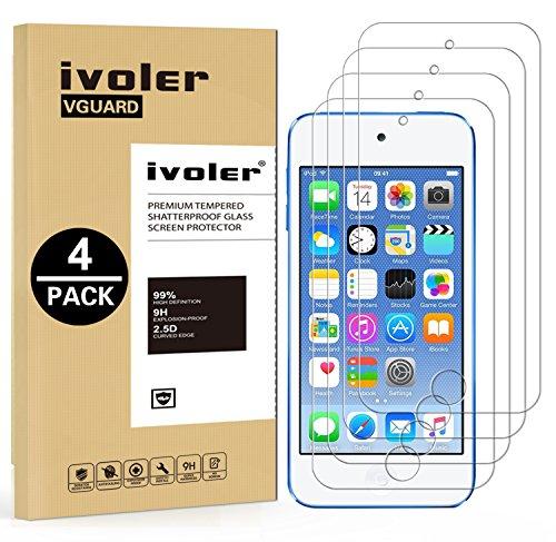 iVoler [4 Stücke] Panzerglas Schutzfolie für Apple iPod Touch 7/6 / 5 (7, 6. und 5. Generation), Panzerglasfolie Folie Displayschutzfolie Hartglas Gehärtetem Glas DisplayPanzerglas für iPod Touch (Ipod Touch 5 Display-schutzfolien)