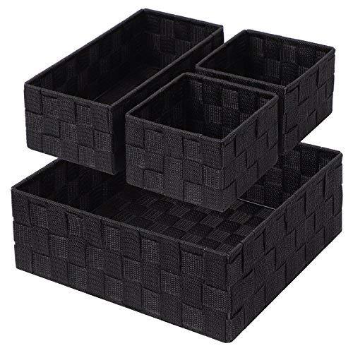 Posprica Organisateur de tiroir, boîtes de Rangement,Panier de Rangement Tissées pour organisateur de Bureau/Placard/Commode/Cosmétique-Lot de 4