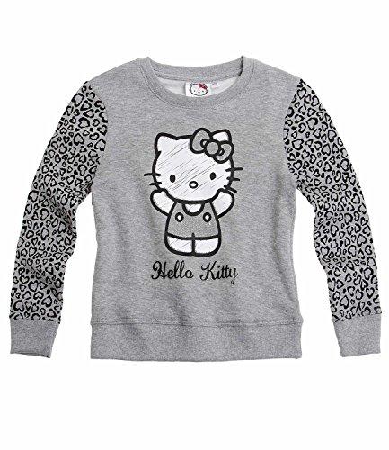 Hello Kitty Mädchen Sweatshirt - grau - 140 (Für Kitty Sweatshirt Mädchen Hello)